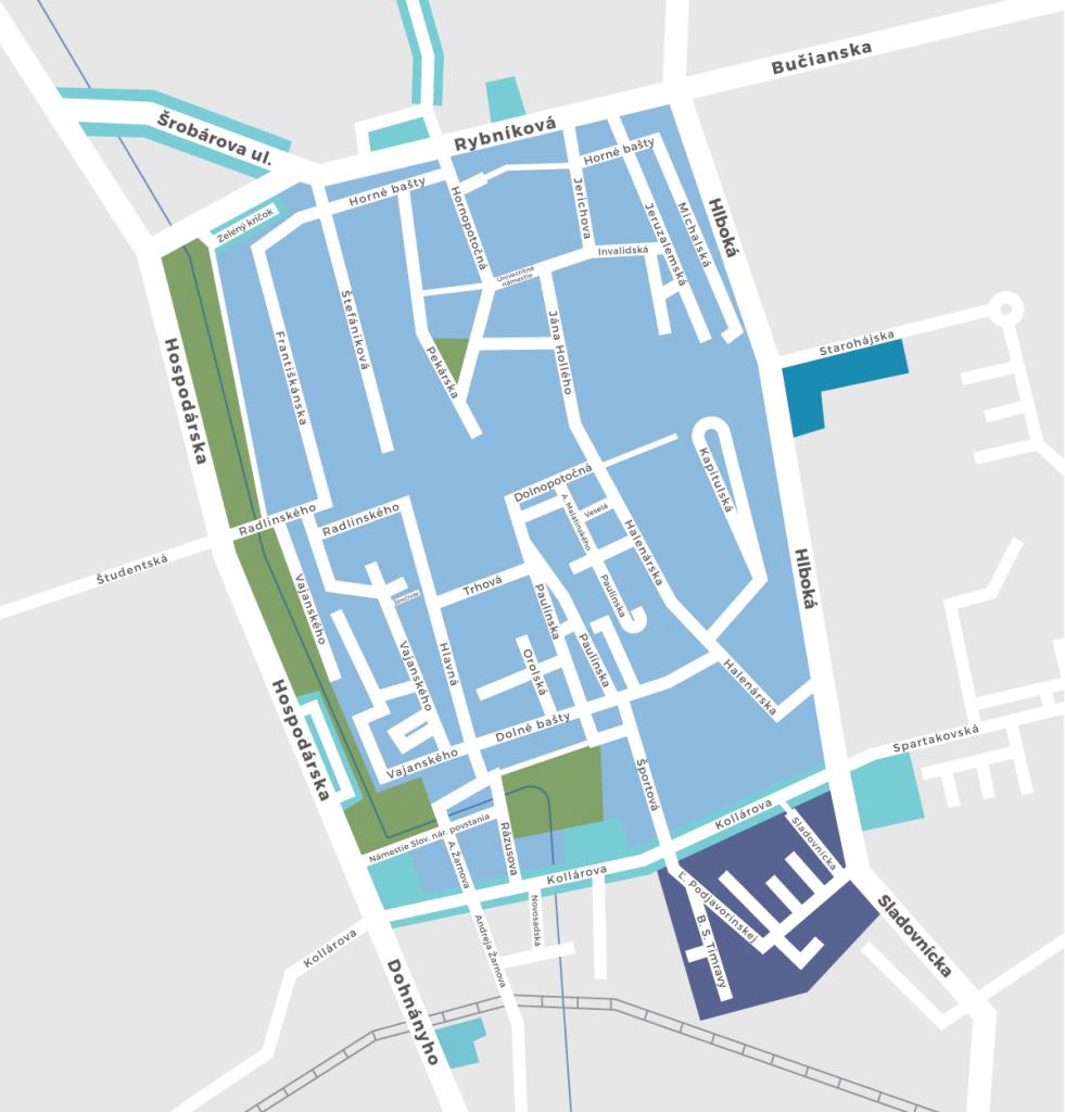 Mapa spoplatnených zón v Trnave